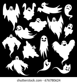 Collection of eerie flying halloween ghosts for design isolated on black background.