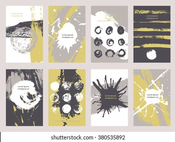 Collection eight cards of ink splatter.