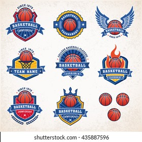 Collection of eight colorful Vector Basketball logo and insignias