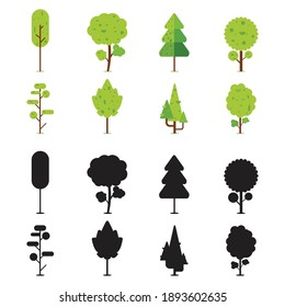 Collection of eight flat style trees with its silhouette