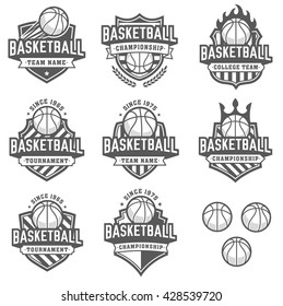 Collection of eight greyscale Vector Basketball logo and insignias