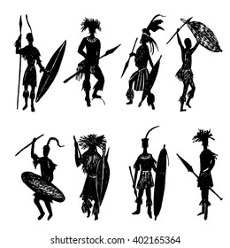 Collection of eight silhouettes of African tribal warriors in the battle suit and arms drawing sketch hand drawn vector illustration
