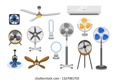 Collection of electric fans of various types isolated on white background. Bundle of household devices for air cooling and conditioning, climate control. Vector illustration in flat cartoon style.