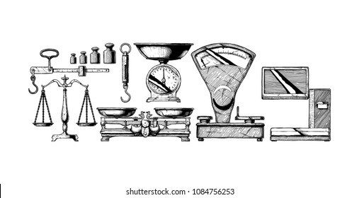 Collection of electronic and mechanical scales for shop. Vector hand drawn illustration in vintage engraved style. Isolated on white background.
