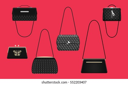Collection of elegance shoulder bags and handbags black color with golden metal details. Trendy accessory for beautiful ladies. Isolated fashion objects on red background. Vector illustration