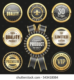 Collection of elegant black and gold design elements - buttons, badges, labels