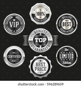 Collection of elegant black and silver design elements - buttons, badges, labels