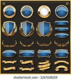 Collection of elegant blue and golden badges and labels design elements