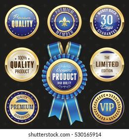 Collection of elegant blue and golden design elements - buttons, badges, labels