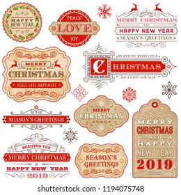 Collection of Elegant Christmas and Happy new Year 2019 vector labels. Every part of the image is separated and organized in different layers.