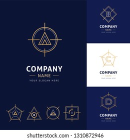 collection of elegant geometrical architecture logos in gold color