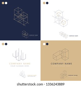Collection of elegant geometrical architecture logos