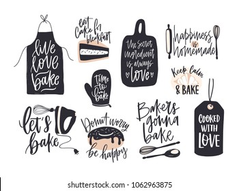 Collection of elegant lettering written with cursive font decorated with cooking or baking design elements. Bundle of bakery compositions with inspiring slogans. Creative vector illustration.