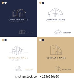 Collection of elegant logos of architecture constructions