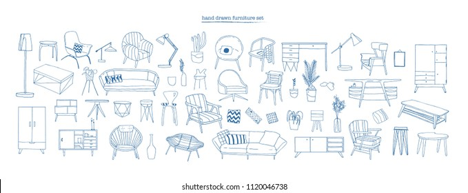 Collection of elegant modern furniture and home interior decorations of trendy Scandinavian or hygge style hand drawn with blue contour lines on white background. Monochrome vector illustration