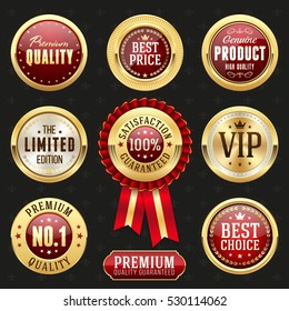 Collection of elegant red and golden design elements - buttons, badges, labels