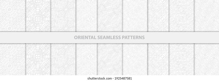 Collection of elegant seamless white pattern vector background.