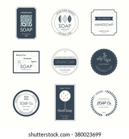 Collection of elegant soap labels. Vector templates for all kind soap design. Set of vector logos with simple text. Style badges collection for soap shop, handmade soap products.