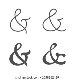 Collection of elegant and stylish custom ampersand. Decoration ampersands. Vector illustration.