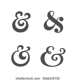 Collection of elegant and stylish custom ampersand. Decoration ampersands. Vector illustration