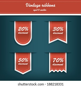 Collection of elegant vertical tags for sales and discounts promotions. Eps10 vector illustration