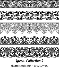 Collection of elegant vintage style fabric embroidered laces. Vector stock illustration. black on white background, isolated.