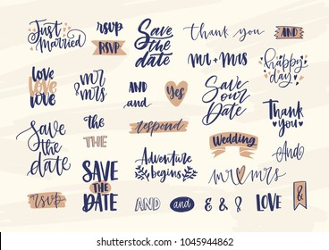 Collection of elegant wedding lettering or inscriptions handwritten with calligraphic font. Set of phrases, words, ampersands decorated with cute romantic elements. Hand drawn vector illustration.