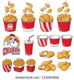collection element Fast food set vector illustration