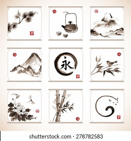 "Collection of elements hand-drawn with ink in traditional Japanese style sumie. Bamboo and pine tree, birds, mountains, flowers etc. Sealed with hieroglyphs ""luck"", ""happiness"" and eternity."
