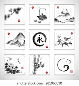 "Collection of elements hand-drawn in traditional Japanese style sumie. Bamboo , birds, mountains, flowers, dragonflies, zen circle etc. Sealed with hieroglyphs ""luck"", ""happiness"" and ""eternity""."