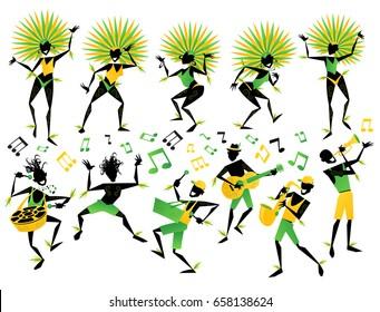 Collection de 11 danseuses et musiciens brésiliens du Carnaval avec des notes de musique sur une fête de Samba. Chaque élément est étiqueté et mis en couches séparément pour faciliter son utilisation.