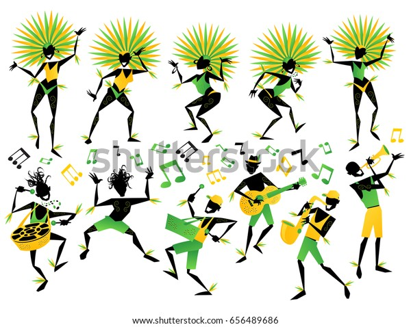 Collection of Eleven Abstract styled Brazilian Carnival Dancers and Musicians with Musical notes to accompany them on a Samba party. Each element is labeled and layered separately for ease of use.