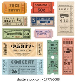 A collection of eleven vector grunted Tickets, Vector file is organized with layers, with every ticket divided into 3 layers, separating Background Shape from the texture effect and text.