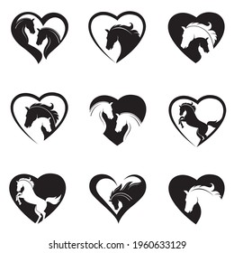 collection of emblem with horse head in heart isolated on white background