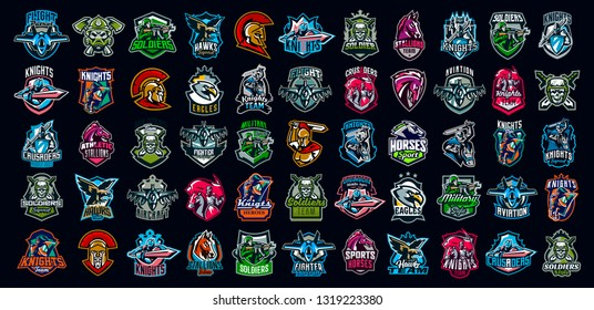 Collection of emblems of knights, soldiers, airplanes, horses, skulls. Knights on horseback, warriors with a sword, military skulls, Greek warriors, Spartans. Colorful set, vector illustration