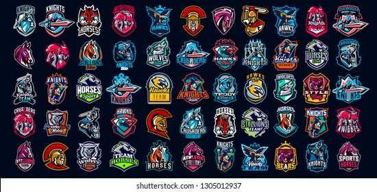 Collection of emblems of knights, warriors, animals. Soldiers, bears, horses, wolves, hawks and eagles. Knights on horseback, warriors with swords, Spartans, wild animals. Vector illustration