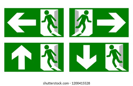 Collection of Emergency fire exit sign show the way to escape.