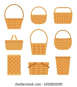 Collection of empty baskets, isolated on white background. Flat style vector illustration.