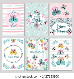 Collection of empty card templates for party invitation,wedding stationery, flyer design with hand drawn flowers, textures and butterflies