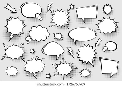 Collection of empty comic speech bubbles with halftone shadows. Hand drawn retro cartoon stickers. Pop art style. Vector illustration.