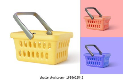 Collection of empty shopping basket. Online store. Realistic shopping cart isolated on white background. Vector illustration