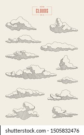 Collection of engraved style clouds. Hand drawn vector illustration, sketch