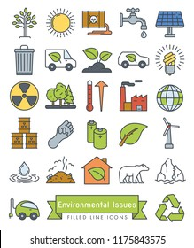 Collection of Environment and Climate related vector icons. Filled Outline Style.