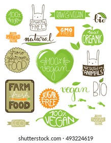 Collection of environmental badges, labels and icons, all handdrawn with hand lettered text