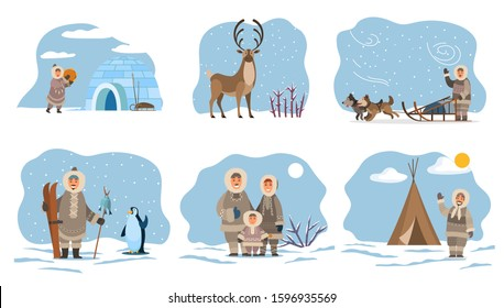 Collection of eskimos people by home made of ice. Igloo and inuit, male character with fish on stick and penguin. Deer with long horns, animal of north. Man with dogs on sleds, vector in flat