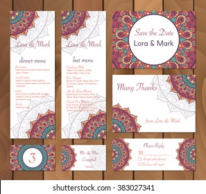 Collection of ethnic cards,menu and wedding invitations with indian ornament. Vintage decorative round elements and lace frame. Hand drawn background. Islam, Arabic, Indian, Pakistan motifs. Vector