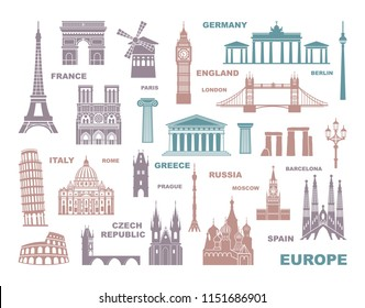 Collection of Europe detailed silhouettes. Set Travel Landmarks. vector illustration. London, Paris, Prague, Barcelona, Moscow Rome Athens Berlin