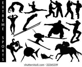 A collection of extreme sports silhouettes-Check out my portfolio for other collections.