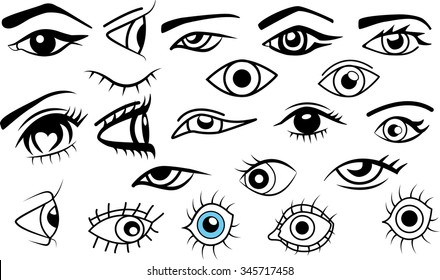 Collection of eyes, different eyes for designs on transparent background.