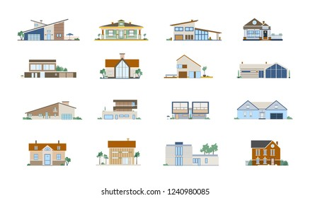 Collection of facades of different residential houses. Set of villas, mansions and cottages of modern and classic architecture. Bundle of suburban real estate. Vector illustration in flat style.